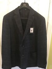 NWT Austin Reed Men's 100% Wool Blazer With Elbow Patches, Charcoal, 42L