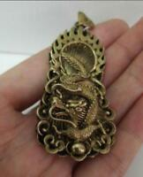 Chinese old antique collection pure brass Dragon small pendant
