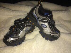 Skechers HOT LIGHTS Super Z Light up Turbo Boy shoes Blue Black Silver Toddler 5