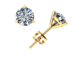 0.50Ct Round Diamond Martini Solitaire Stud Earrings 14k Yellow Gold Prong J I1