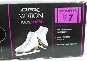 DBX Motion Figure Skating Ice Skates - White Leather Women's Size 7