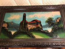 """Huge Antique """"Castle On Hill Scene"""" Reverse Oil On Glass Painting  -  Framed"""