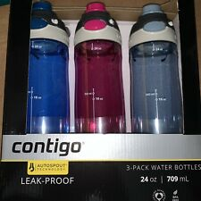 Contigo Autoseal 24oz. Pink Spill-proof Water Bottles, 3-pack BPA Free Brand New