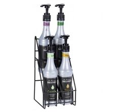 Monin 4 Flavor Syrup Bottle Station Stand Black Wire Rack Only