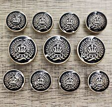 11pcs 15/20mm Metal Gold Crown Shank Suit Set Button Bespoke Blazer Uniform DIY