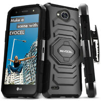 LG X Power 2 / LG X Charge Case, Evocel Dual Layer Rugged Kickstand w/ Belt Clip