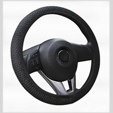 Car Steering Wheel Cover Microfiber Leather Breathable Anti-slip Black 1pc YK