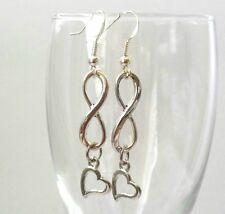 Infinity Heart Dangle Drop 925 Sterling Silver Earring Hook