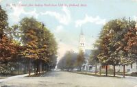 Holland Michigan~Central Avenue Homes~Church Steeple~Dirt Road~1912 Postcard