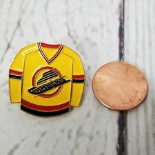 Vintage NHL Vancouver Canucks Yellow Jersey Shirt Metal Pin Button Lapel