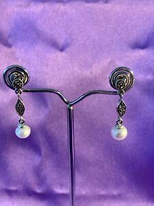 Vintage Sterling 925 Silver Marcasite & Fresh Water Pearl Drop Earring