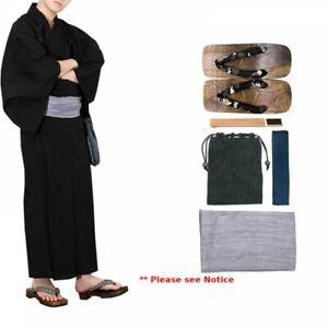Japanese Men's Kimono Yukata Cotton Linen 6 Items Set G-1 BK x GY Japan Tracking
