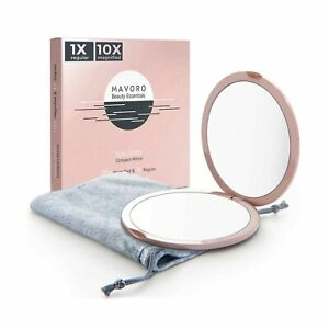 Magnifying Compact Mirror for Purses with 10X Magnification - Pink Double Sid...