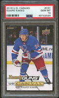 Kaapo Kakko 2019 UD Canvas Young Guns hockey rookie card RC #C91 PSA 10 Rangers