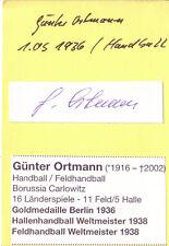 AUTOGRAFO Pallamano Günter Ortmann Germania ORO OLYMPIA 1936 Berlino + WM 38