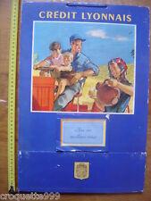 1956 PAUTIER Calendrier CREDIT LYONNAIS avec porte courrier TRACTEUR PAYSAN