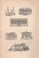 1874 PRINT ~ ARCHITECTURE ~ LUXOR EGYPT TENTYRA ELLORA INDIA ACROPOLIS