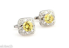 WONDERFUL SILVER & YELLOW STAR JEWEL CUFFLINKS WITH VELVET POUCH,  uk seller