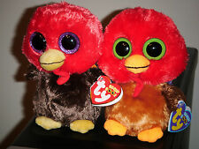 "Ty Beanie Baby Boos Set of 2 ~ GOBBLES & THANKFUL the 6"" Turkey ~ NEW"