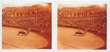 Corrida Tauromachie Espagne France Plaque verre stereo 6x13cm Vintage