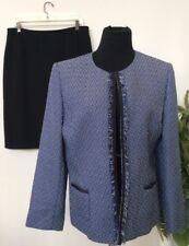 Tahari Women's Blue Black 100% Polyester Tweed 2 Piece Skirt Suit Size 12 EUC!