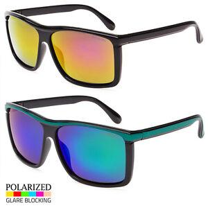 Men Casual Polarized Black White Blue Square Flat Top Classic Cool Sunglasses
