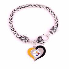 Pittsburgh Steelers Football Heart Charm Dangle Women's Fashion Clasp Bracelet