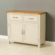 Mullion Painted Small Sideboard / Small 2 Door 2 Drawer Cupboard with Oak Top