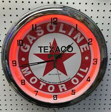 "16"" TEXACO Gasoline Motor Oil Gas Station Neon Clock Sign"
