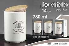 BARATTOLO CONTENITORE IN CERAMICA BIANCO 14 CM 780ML DECORI ASSORTITI DTC-668593