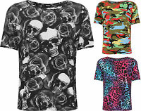 Plus Womens Printed T-Shirt Top Ladies Short Sleeve Crew Neck Stretch New 16-26