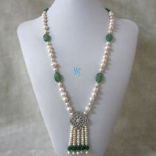 """27"""" 4-11mm White Freshwater Pearl Necklace Stone Tassel Jewelry A-25"""