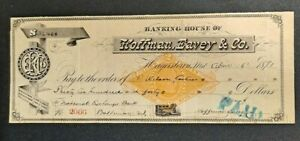 1881 BANKING HOUSE OF HOFFMAN, EAVEY & CO HAGERSTOWN MD $3,240 CHECK!-d3906qsc2