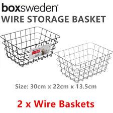 2 x Wire Storage Basket 30x22CM Metal Home Storage Organiser Container Bin Toy