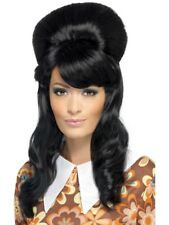 Black 60's Groovy Brigitte Bouffant Wig Adult Womens Smiffys Fancy Dress Costume