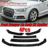 For Audi A3 S3 2017-2019 Glossy Black Front Bumper Lip Spoiler Cover Trim 4PCS