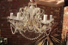 More details for vintage/antique style glass chandelier light fitting cut crystal drops & swags