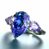 Stylish Pear Cut Sapphire Women Wedding Rings 925 Silver Ring Jewelry Sz 6-10