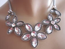 STRASS Collier Damen Hals Kette kurz Modekette Silber Blumen Blüte Statement c43