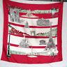 Vtg 50s 60s Red PARIS FRANCE SOUVENIR SCARF Landmarks lArc de Triomphe Cathedral