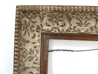 ART NOUVEAU,WHITEWASH CARVED GILDED WOOD FRAME FOR PAINTING 16 X 13 INCH  (d15)