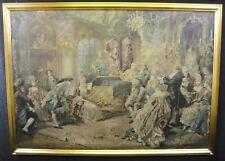 Antico quadro oleografia Antonio Borsari scena del settecento dame nobiltà 1800
