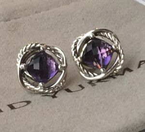 David Yurman Infinity Stud Earrings With Amethyst Stone