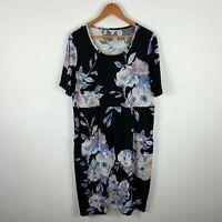 Khoko Plus Womens Dress Size 16+ Black Floral Short Sleeve Round Neck