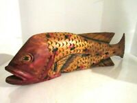 """Vintage Wood Carved Fish Art Deco With Red/Blue Spots 20"""" Long"""