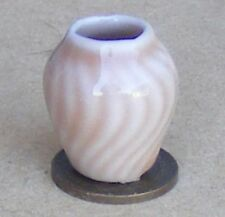 1:12 Scale Single Ceramic Salmon Pink Vase Dolls House Ornament Accessory SP4