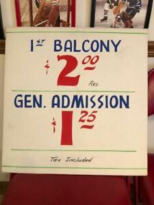 VINTAGE 1956 CHICAGO STADIUM BLACKHAWKS BALCONY TICKETS PRICE SIGN POSTER HOCKEY
