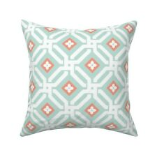 Moroccan Geometric Mint Coral Throw Pillow Cover w Optional Insert by Roostery
