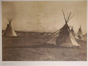 Blackfeet Piegan Camp Ti-pies Plains Indians Montana Folio Edward Curtis 1900/72