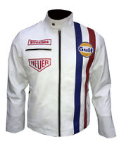 Gulf Jacket By Steve McQueen Le Man Classic Vintage Genuine White Leather Jacket